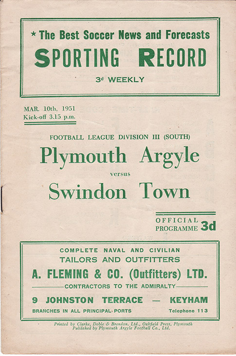 Saturday, March 10, 1951 - vs. Plymouth Argyle (Away)