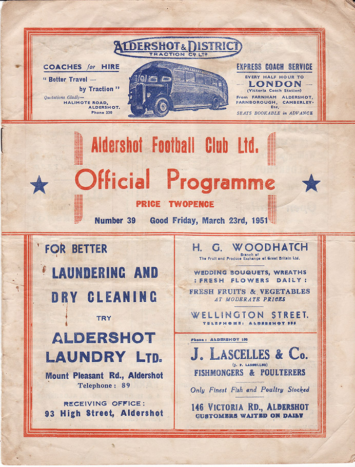 Friday, March 23, 1951 - vs. Aldershot (Away)