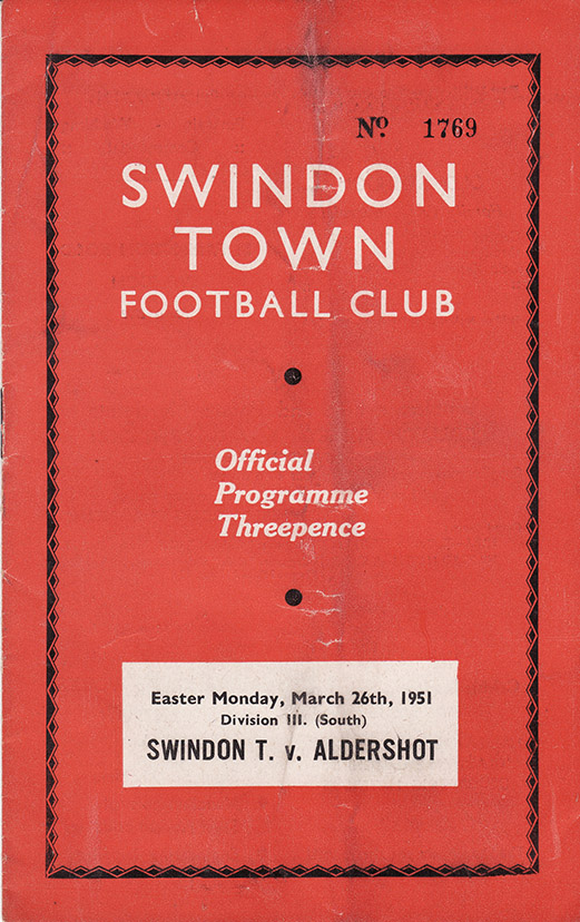 Monday, March 26, 1951 - vs. Aldershot (Home)