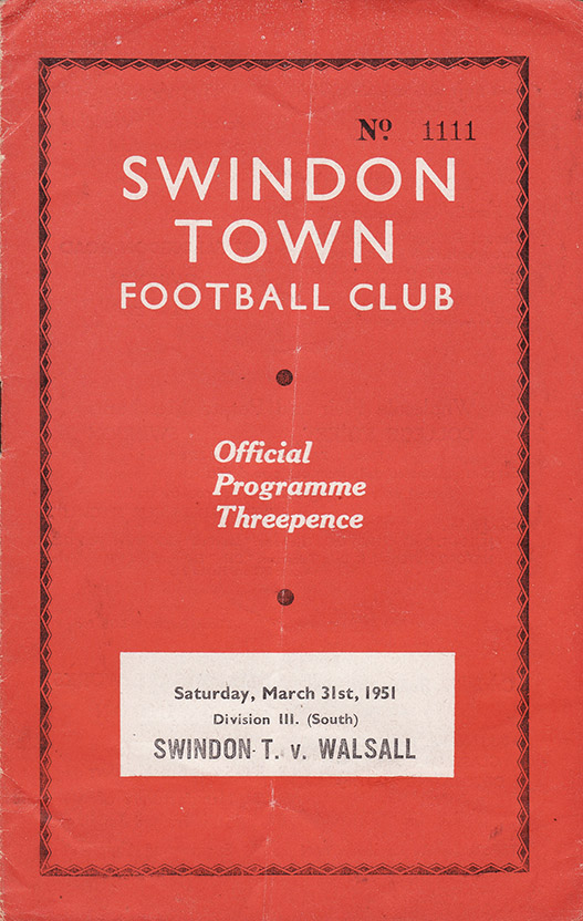 Saturday, March 31, 1951 - vs. Walsall (Home)