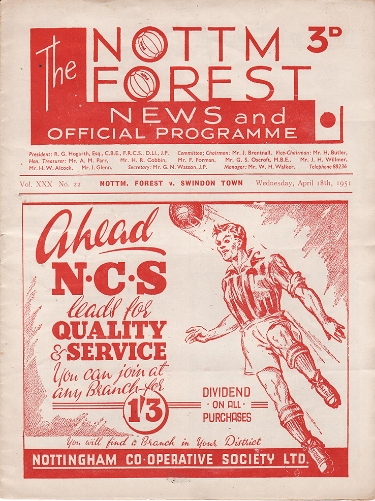 Wednesday, April 18, 1951 - vs. Nottingham Forest (Away)