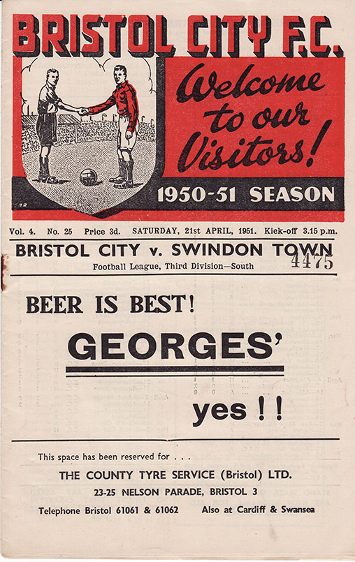 Saturday, April 21, 1951 - vs. Bristol City (Away)