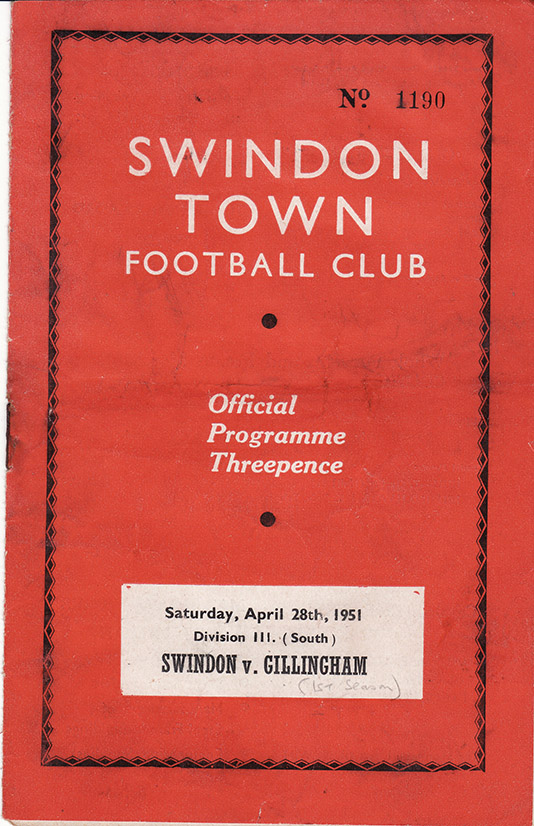 Saturday, April 28, 1951 - vs. Gillingham (Home)