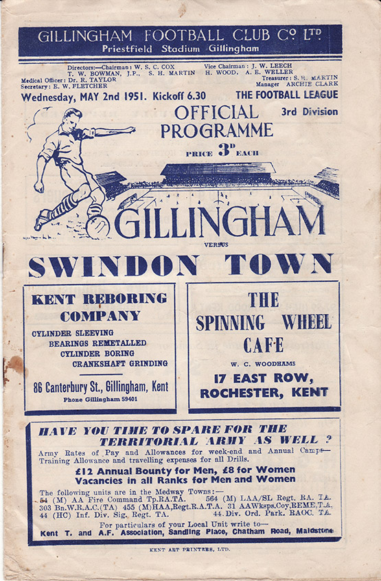 Wednesday, May 2, 1951 - vs. Gillingham (Away)