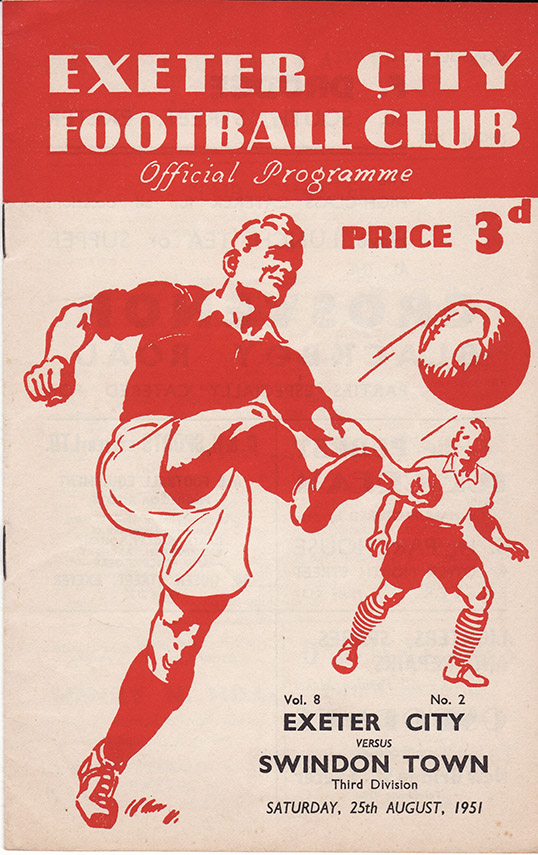 Saturday, August 25, 1951 - vs. Exeter City (Away)