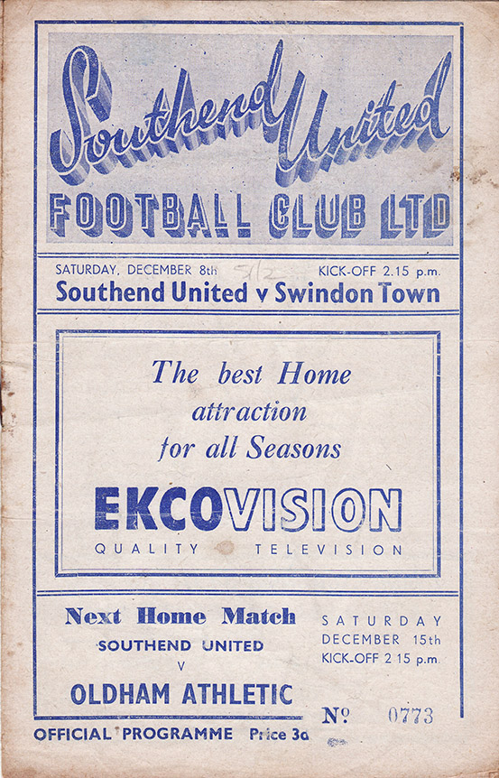 Saturday, December 8, 1951 - vs. Southend United (Away)
