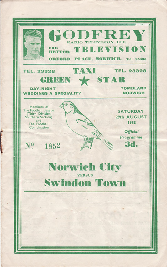 <b>Saturday, August 29, 1953</b><br />vs. Norwich City (Away)