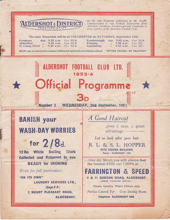 <b>Wednesday, September 2, 1953</b><br />vs. Aldershot (Away)