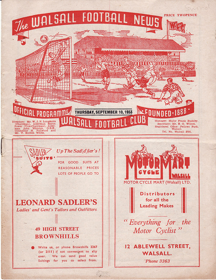 <b>Thursday, September 10, 1953</b><br />vs. Walsall (Away)