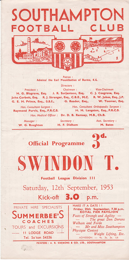 <b>Saturday, September 12, 1953</b><br />vs. Southampton (Away)