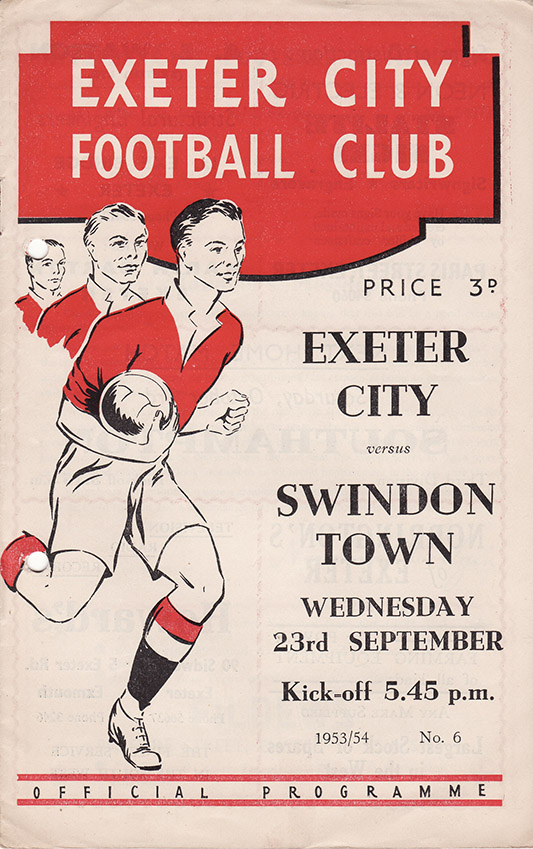<b>Wednesday, September 23, 1953</b><br />vs. Exeter City (Away)