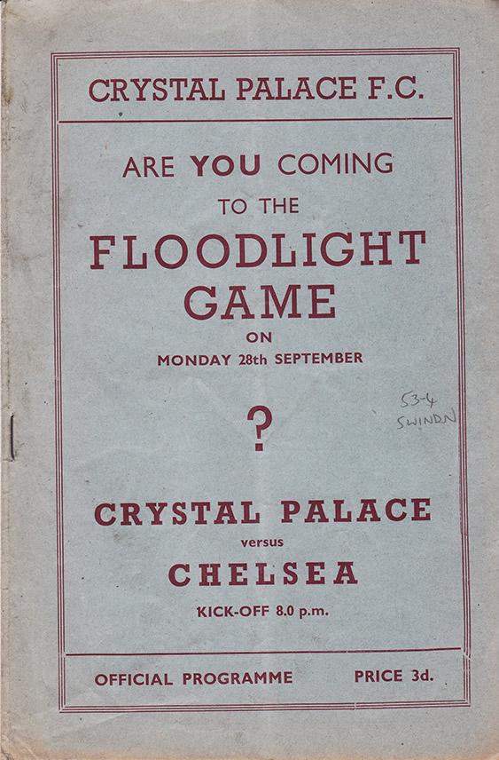 <b>Saturday, September 26, 1953</b><br />vs. Crystal Palace (Away)
