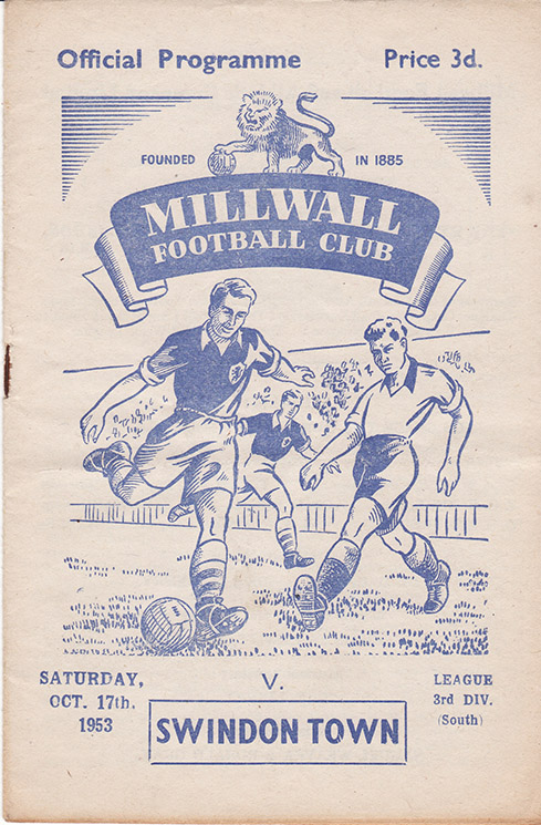 <b>Saturday, October 17, 1953</b><br />vs. Millwall (Away)