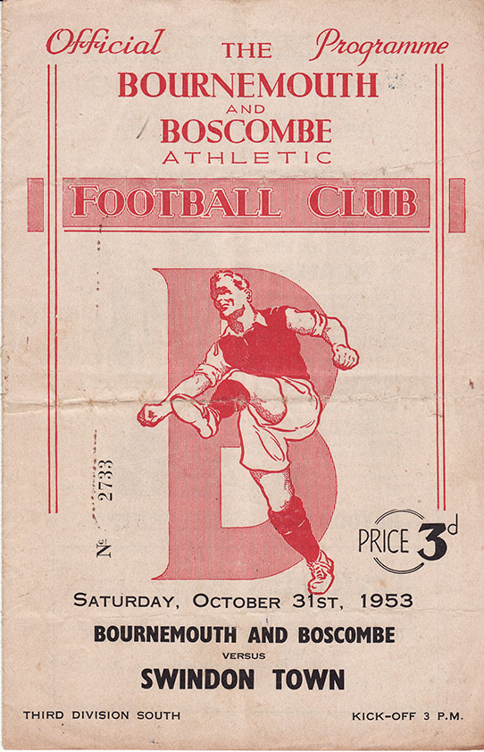 <b>Saturday, October 31, 1953</b><br />vs. Bournemouth and Boscombe Athletic (Away)