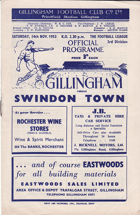 <b>Saturday, November 14, 1953</b><br />vs. Gillingham (Away)