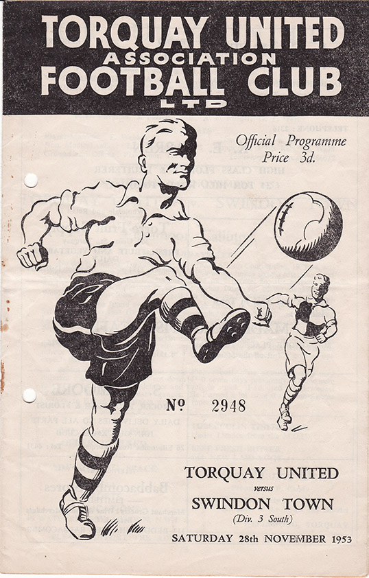 <b>Saturday, November 28, 1953</b><br />vs. Torquay United (Away)