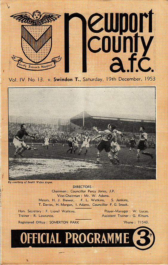 <b>Saturday, December 19, 1953</b><br />vs. Newport County (Away)