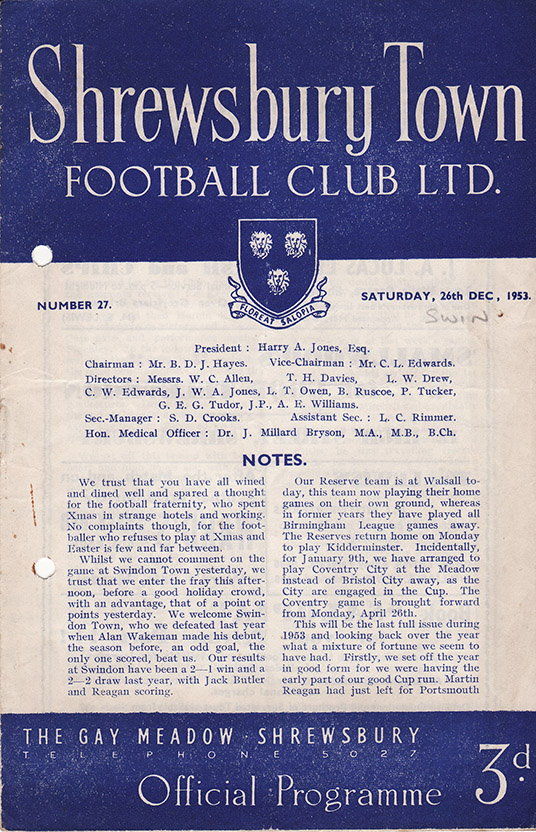 <b>Saturday, December 26, 1953</b><br />vs. Shrewsbury Town (Away)