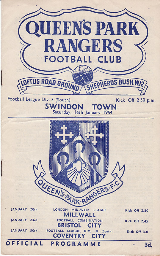 <b>Saturday, January 16, 1954</b><br />vs. Queens Park Rangers (Away)