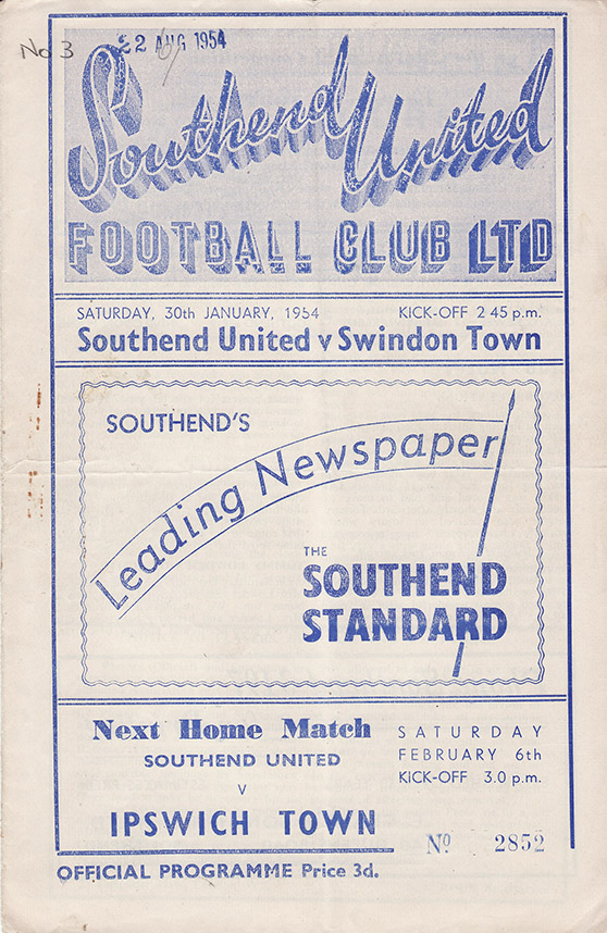<b>Saturday, January 30, 1954</b><br />vs. Southend United (Away)