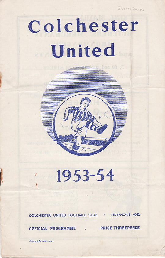 <b>Saturday, February 6, 1954</b><br />vs. Colchester United (Away)