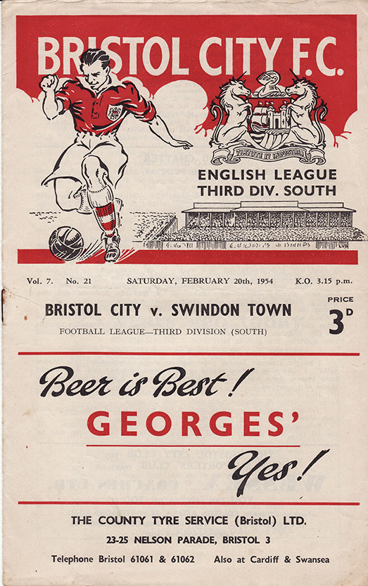 <b>Saturday, February 20, 1954</b><br />vs. Bristol City (Away)