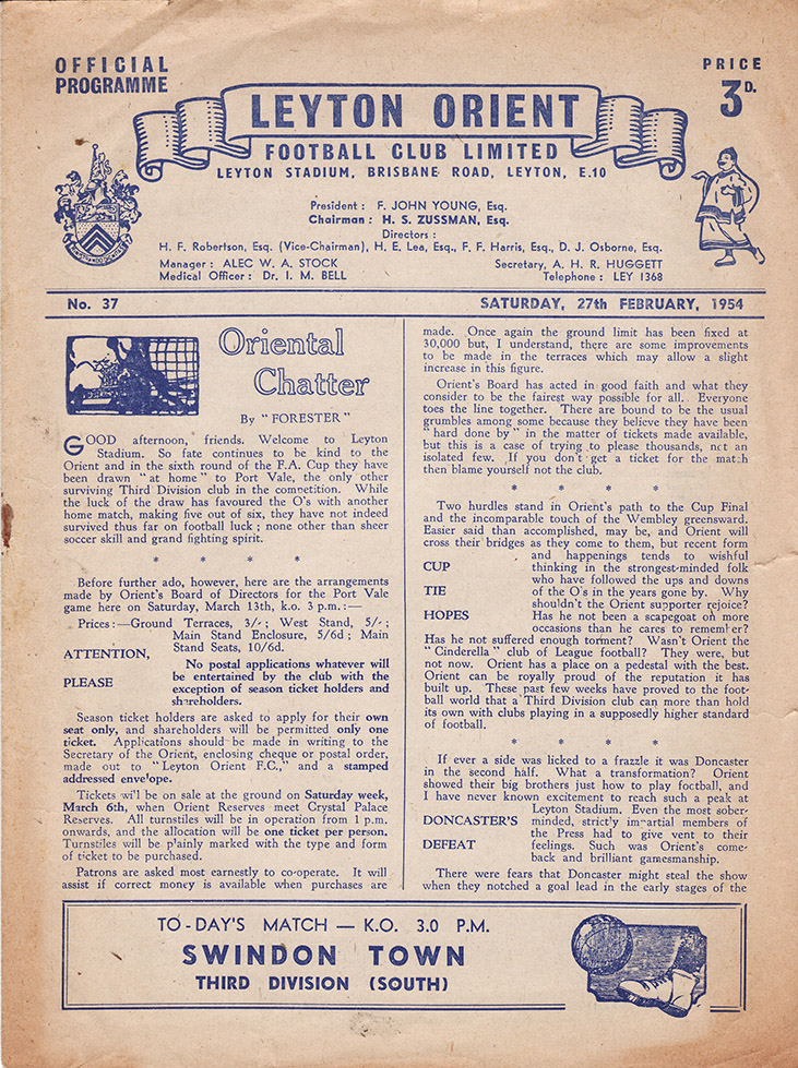 <b>Saturday, February 27, 1954</b><br />vs. Leyton Orient (Away)