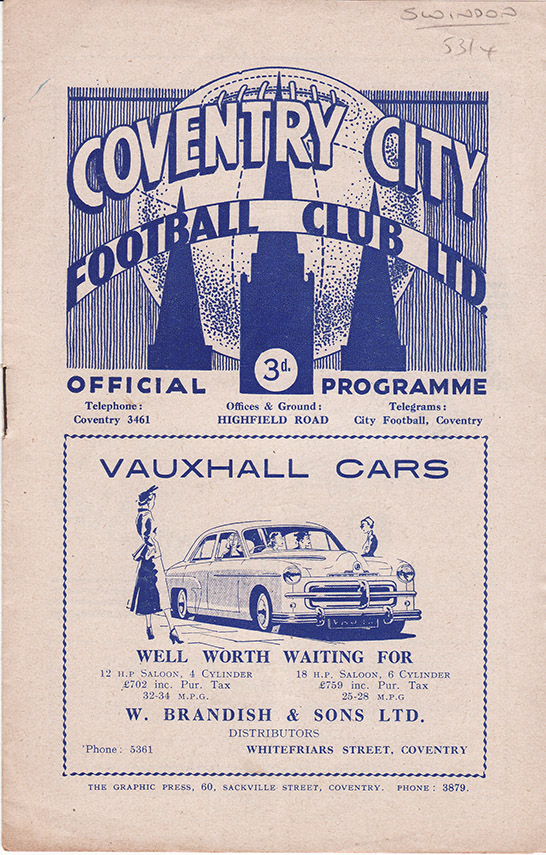 <b>Saturday, March 27, 1954</b><br />vs. Coventry City (Away)