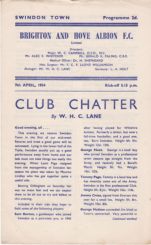 <b>Wednesday, April 7, 1954</b><br />vs. Brighton and Hove Albion (Away)