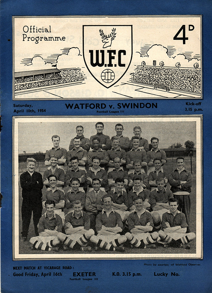 <b>Saturday, April 10, 1954</b><br />vs. Watford (Away)