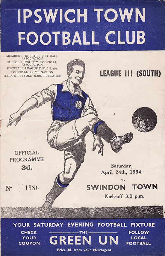 <b>Saturday, April 24, 1954</b><br />vs. Ipswich Town (Away)
