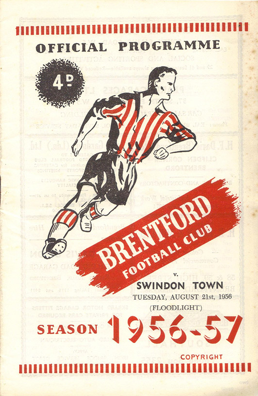 <b>Tuesday, August 21, 1956</b><br />vs. Brentford (Away)