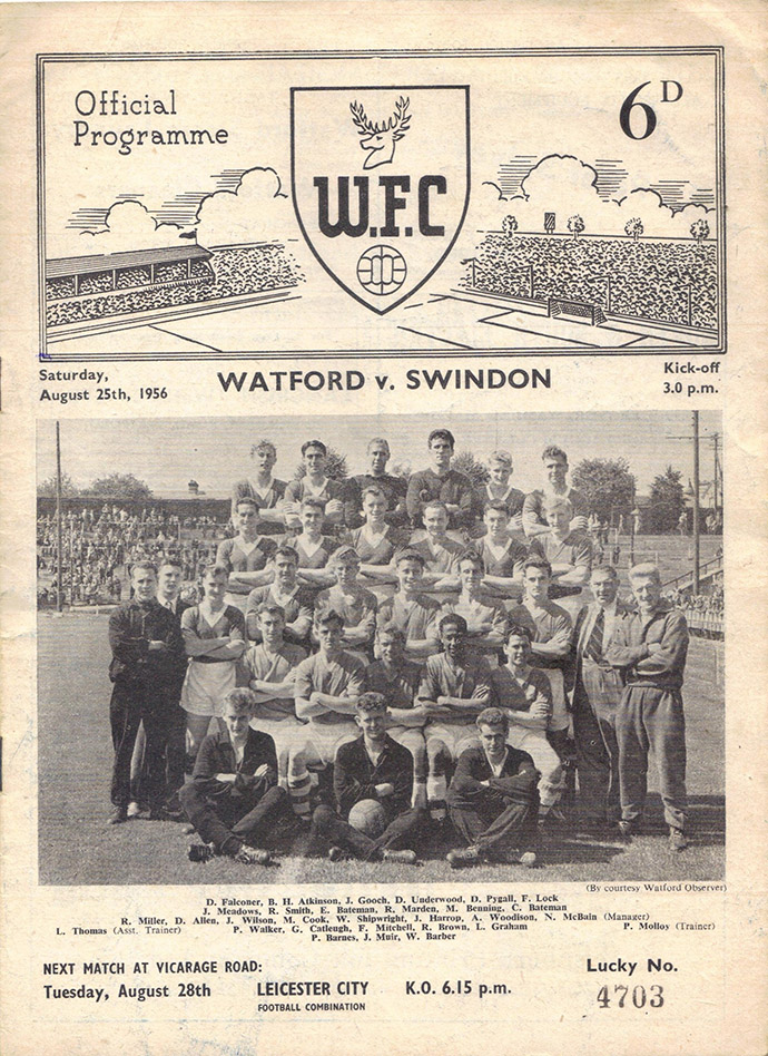 <b>Saturday, August 25, 1956</b><br />vs. Watford (Away)