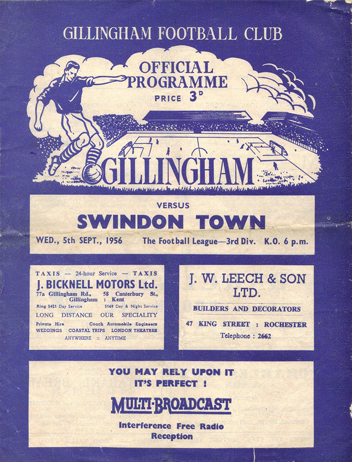 <b>Wednesday, September 5, 1956</b><br />vs. Gillingham (Away)