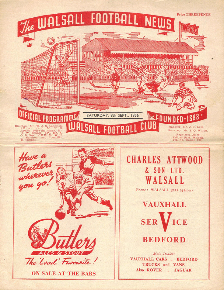 <b>Saturday, September 8, 1956</b><br />vs. Walsall (Away)