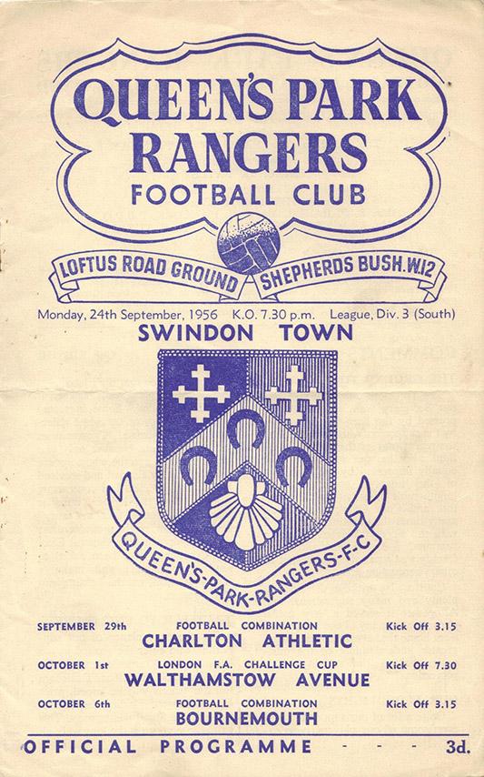 <b>Monday, September 24, 1956</b><br />vs. Queens Park Rangers (Away)