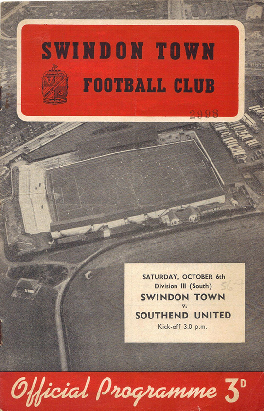 <b>Saturday, October 6, 1956</b><br />vs. Southend United (Home)