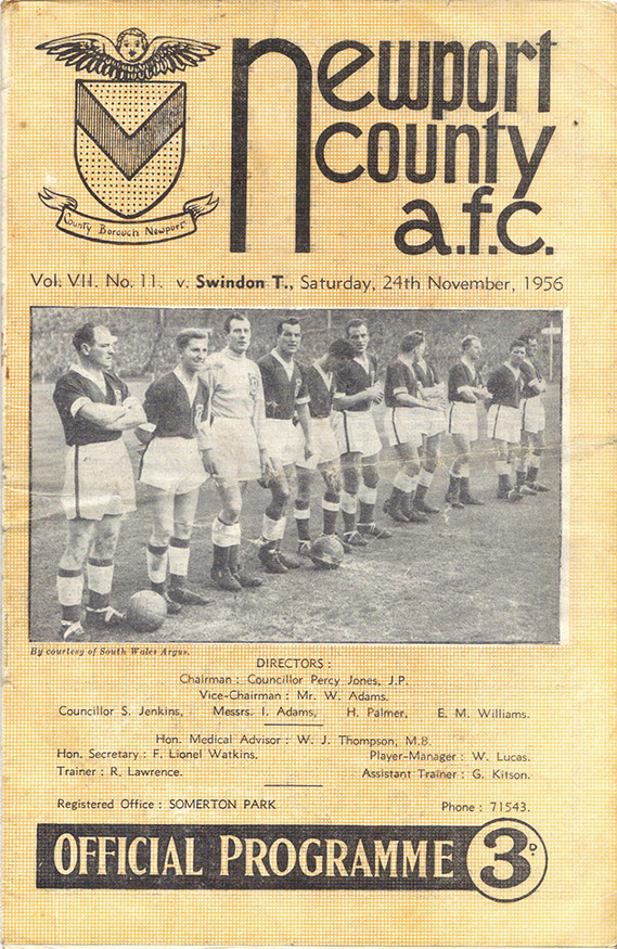<b>Saturday, November 24, 1956</b><br />vs. Newport County (Away)