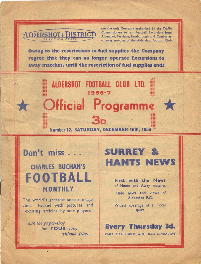 <b>Saturday, December 15, 1956</b><br />vs. Aldershot (Away)