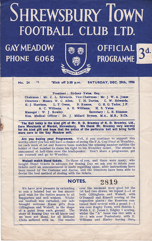 <b>Saturday, December 29, 1956</b><br />vs. Shrewsbury Town (Away)