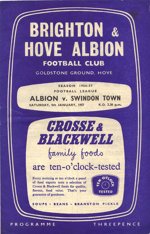 <b>Saturday, January 5, 1957</b><br />vs. Brighton and Hove Albion (Away)