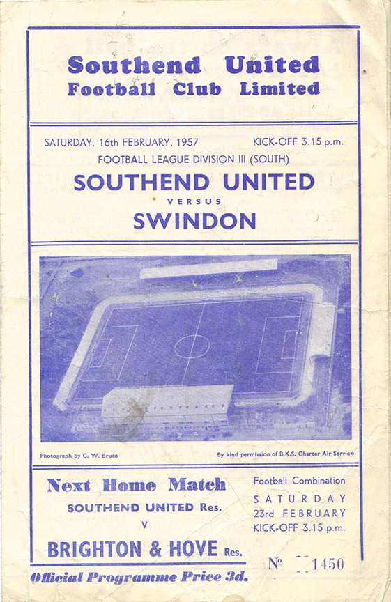 <b>Saturday, February 16, 1957</b><br />vs. Southend United (Away)