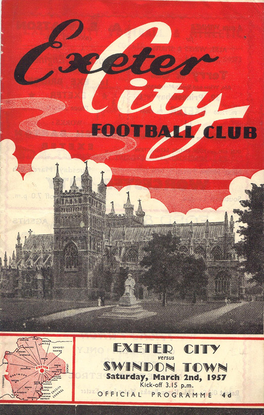 <b>Saturday, March 2, 1957</b><br />vs. Exeter City (Away)