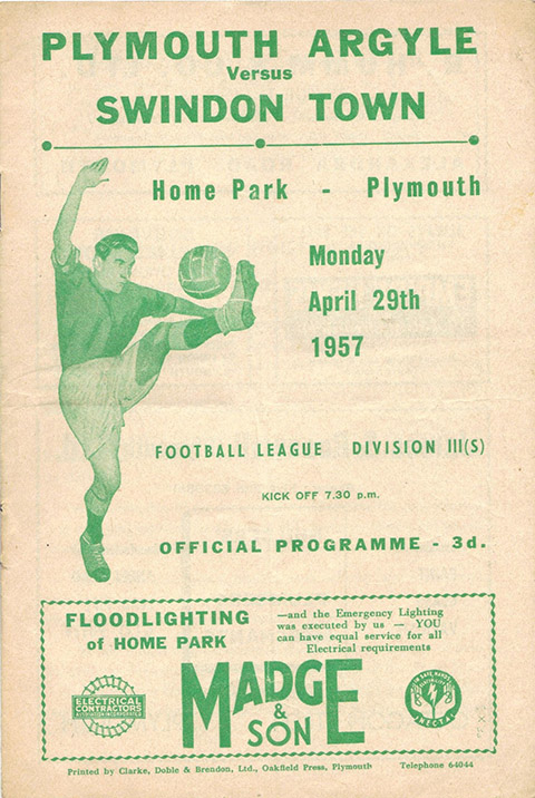 <b>Monday, April 29, 1957</b><br />vs. Plymouth Argyle (Away)