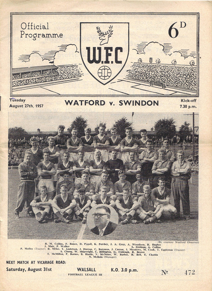 Tuesday, August 27, 1957 - vs. Watford (Away)