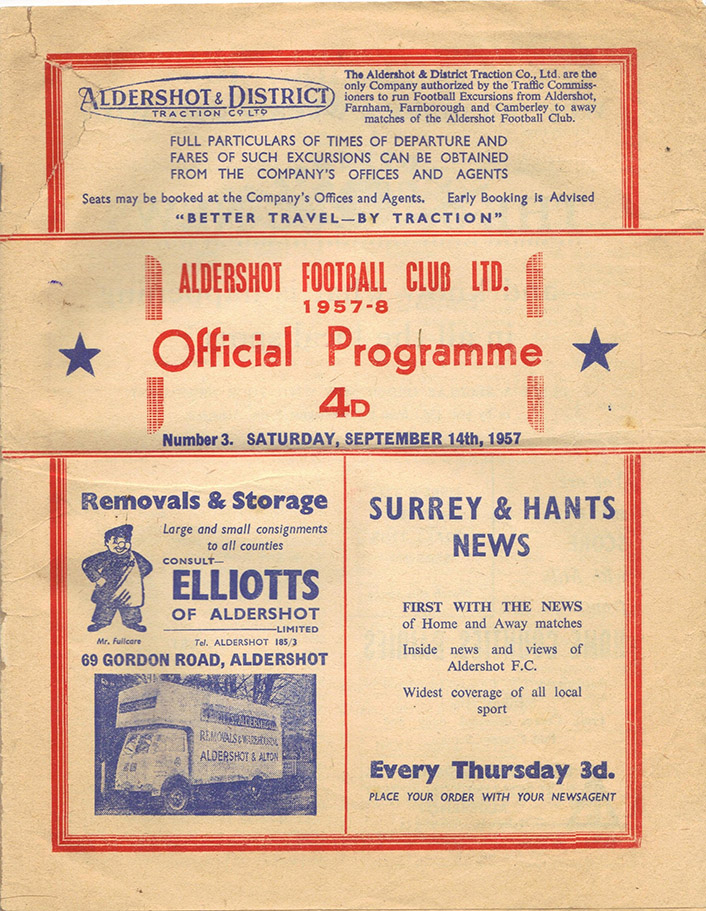 Saturday, September 14, 1957 - vs. Aldershot (Away)