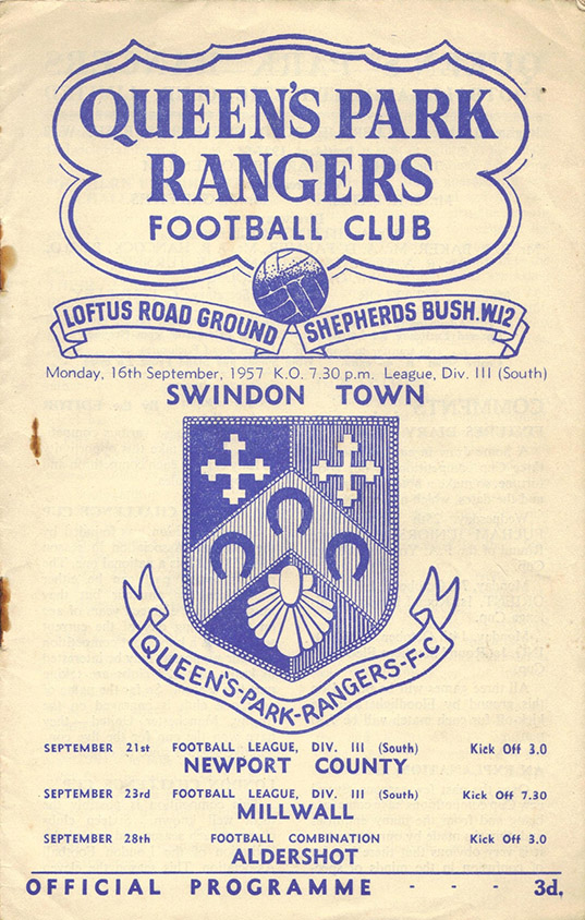 Monday, September 16, 1957 - vs. Queens Park Rangers (Away)