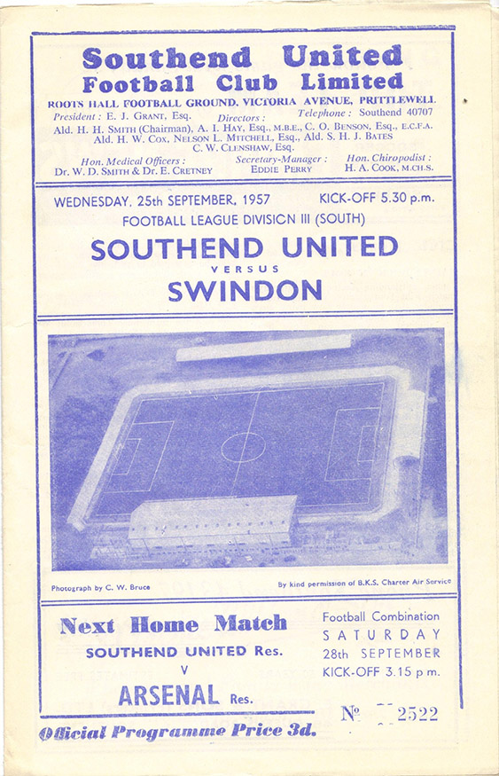 Wednesday, September 25, 1957 - vs. Southend United (Away)