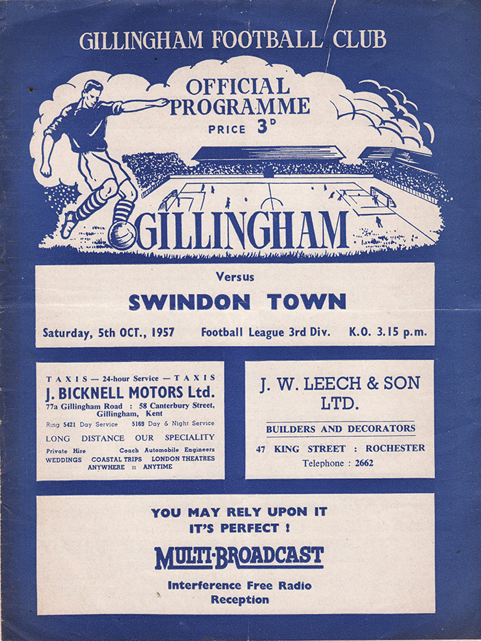 Saturday, October 5, 1957 - vs. Gillingham (Away)