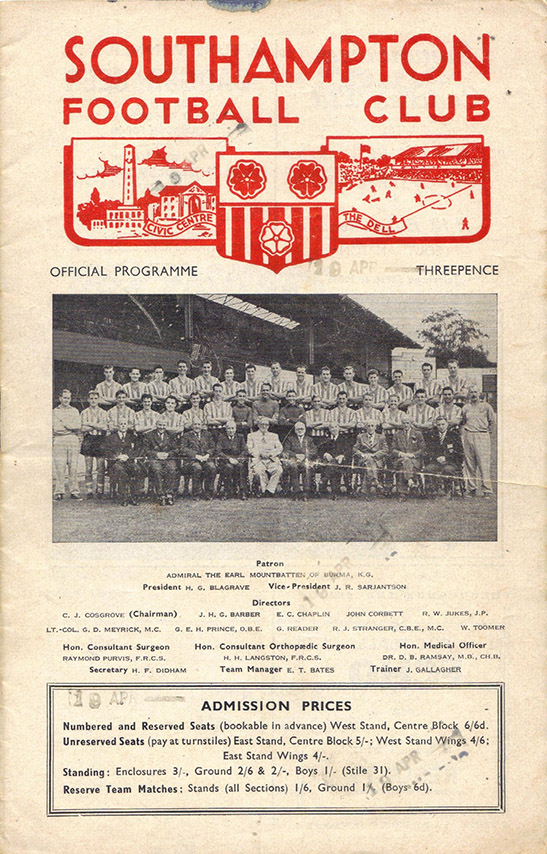 Wednesday, October 9, 1957 - vs. Southampton (Away)